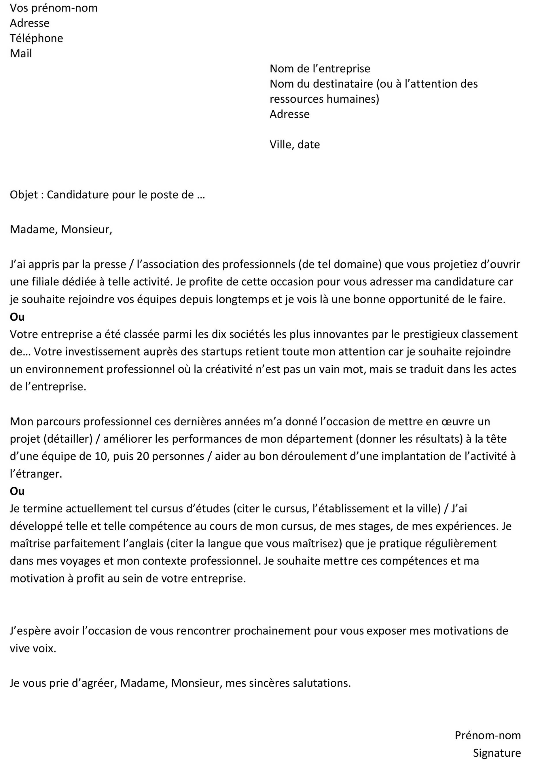 lettre de motivation   exemple type